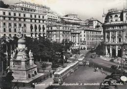 GENOVA PIAZZA ACQUAVERDE E MONUMENTO A COLOMBO-FILOBUS E TRAM -FG - Genova