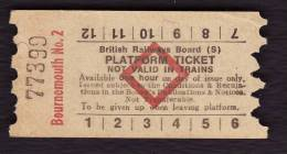 Railway Platform Ticket BOURNEMOUTH No.2 BRB(S) Red Diamond AA - Railway