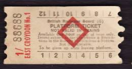 Railway Platform Ticket EAST CROYDON No.1 BRB(S) Red Diamond AA - Railway