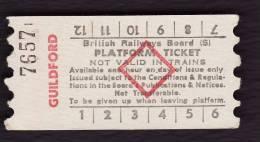 Railway Platform Ticket GUILDFORD BRB(S) Red Diamond AA - Railway