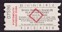 Railway Platform Ticket PORTSMOUTH HARBOUR 5540A BRB(S) Red Diamond AA - Railway