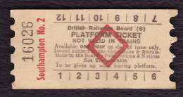 Railway Platform Ticket SOUTHAMPTON No.2 BRB(S) Red Diamond AA - Railway