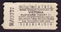 Railway Platform Ticket London VICTORIA 1d BTC(S) AA - Railway