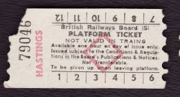 Railway Platform Ticket HASTINGS BRB(S) Red Diamond AA - Railway