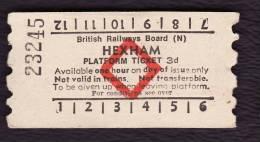 Railway Platform Ticket HEXHAM BRB(N) Red Diamond AA - Railway