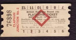 Railway Platform Ticket CLAPHAM JUNCTION No.2 BRB(S) Red Diamond AA - Railway