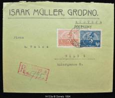 14133 Recommandé Multiple Franking Grodno Vers Vienne Sur Une Enveloppe Isaac Muller ../11/1917 - ....-1919 Provisional Government