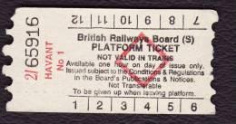 Railway Platform Ticket HAVANT No.1 BRB(S) Red Diamond AA - Railway