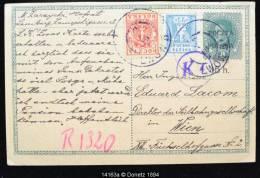 14163 Entier Surchargé Et Mix Ajouté, De LWOW à Vienne, Deux Censures, Marque D´enregistrement 02/08/1919 - Lettres & Documents