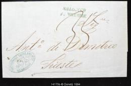 14175 Salonique Vers Trieste 1865, Taxe, Pubilicité, 01/11 - Grèce