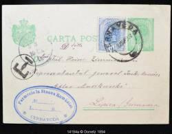 """14194 Entier Postale Surchargé D´un Timbre Cernavoda Vers Lipsca (Allemagne), Marque """"T"""" 03/03/1901 - 1881-1918: Carol I"""