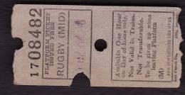 Railway Platform Ticket RUGBY MIDLAND BTC(M) Ultimatic - Railway