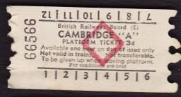 "Railway Platform Ticket CAMBRIDGE ""A"" BRB(E) Red Diamond AA - Railway"