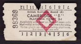 "Railway Platform Ticket CAMBRIDGE ""B"" BRB(E) Red Diamond AA - Railway"