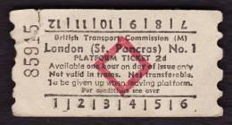 Railway Platform Ticket LONDON (ST PANCRAS) No.1 BTC(M) Red Diamond AA - Spoorwegen