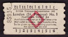 Railway Platform Ticket LONDON (ST PANCRAS) No.1 BTC(M) Red Diamond AA - Railway