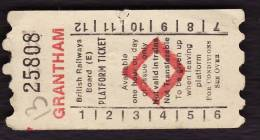 Railway Platform Ticket GRANTHAM BRB(E) Red Diamond AA - V - Railway