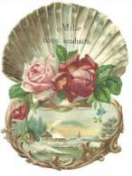 """Chromo Découpis ,pub Chicorée """"A La Belle Jardinière"""",coquille St-Jacques, Roses, Paysage Hiver, """"mille Bons Souhaits"""" - Oblaten, Glanzbilder"""