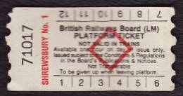 Railway Platform Ticket SHREWSBURY No.1 BRB(LM) Red Diamond AA - Railway