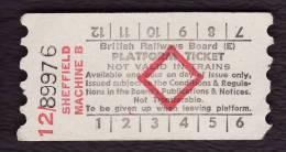 Railway Platform Ticket SHEFFIELD MACHINE B BRB(E) Red Diamond AA - Railway