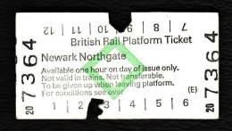 Railway Platform Ticket NEWARK NORTHGATE BRB(E) Green Diamond Edmondson - Railway