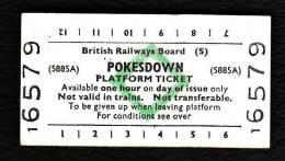 Railway Platform Ticket POKESDOWN BRB(S) Green Diamond Edmondson - Railway
