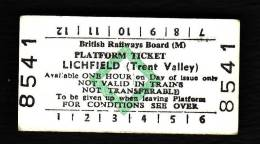 Railway Platform Ticket LICHFIELD (TRENT VALLEY) BRB(M) Green Diamond Edmondson - Railway
