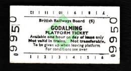 Railway Platform Ticket GODALMING BRB(S) Green Diamond Edmondson - Railway