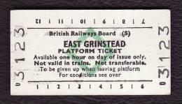 Railway Platform Ticket EAST GRINSTEAD BRB(S) Green Diamond Edmondson - Railway