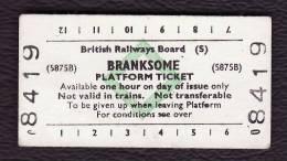 Railway Platform Ticket BRANKSOME BRB(S) Green Diamond Edmondson - Railway