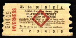 Railway Platform Ticket INVERNESS BRB(H) Red Diamond AA - Railway