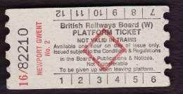 Railway Platform Ticket NEWPORT GWENT No.2 BRB(W) Red Diamond AA - Railway