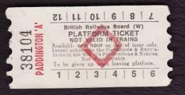 Railway Platform Ticket PADDINGTON 'A' BRB(W) Red Diamond AA - Railway