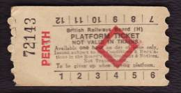 Railway Platform Ticket PERTH BRB(H) Red Diamond AA - Railway