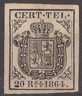 ESTGF4-L2154.Espagne. Spain.ESCUDO DE ESPAÑA.TELEGRAFOS  DE ESPAÑA .1864 (Ed 4*)  MAGNIFICO.Certificado. - Telegraph