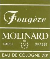 Etiquette Parfum Réf.008. Fougère - Molinard - Paris, Grasse - Eau De Cologne - Etiquettes