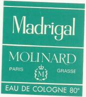 Etiquette Parfum Réf.014. Eau De Cologne - Madrigal - Molinard - Paris Grasse - Etiquettes