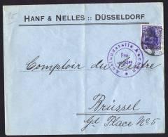 Brief Von Düsseldorf Nach Brüssel Zensur «Auslandstelle Aachen» - Deutschland
