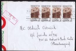 1976  Lettre D'Espagne Ouverte Par La Douane - Czechoslovakia