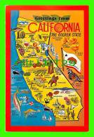 MAPS - GREETINGS FROM CALIFORNIA - CONTINENTAL POSTCARDS CO - - Cartes Géographiques