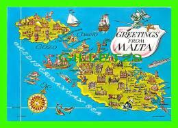 MAPS - MALTE  GREETINGS FROM MALTA - JOSEPH CALLEJA - - Cartes Géographiques