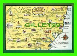 MAPS - SUFFOLK & PARTS OF CAMBRIDESHIRE & ESSEX - A SALMON WATERCOLOUR - CARTE GÉOGRAPHIQUE - - Cartes Géographiques