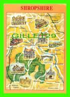MAPS -SHROPSHIRE, WEST MIDLANDS - CARTE GÉOGRAPHIQUE - A DENIS POSTCARD - - Cartes Géographiques