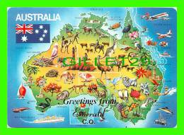 MAPS - GREETINGS FROM EMERALD C. O. AUSTRALIA - CARTE GÉOGRAPHIQUE -  WRITTEN IN 1989 - - Cartes Géographiques