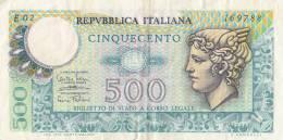 Billets -  B759 - Italie   - Billet  500 Lire ( Type, Nature, Valeur, état... Voir 2 Scans) - [ 2] 1946-… : Républic