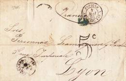 9905# LETTRE BARCELONA TAXE 5c ESPAGNE AMB CARC. TAR. A 1865 Pour LYON RHONE CARCASSONNE TARASCON BARCELONE - 1849-1876: Période Classique