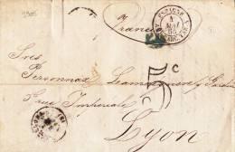 9905# LETTRE BARCELONA TAXE 5c ESPAGNE AMB CARC. TAR. A 1865 Pour LYON RHONE CARCASSONNE TARASCON BARCELONE - Storia Postale