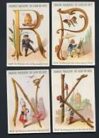 Grand Magasins Du Coin De Rue, Lot De 4 Chromos Thème Alphabet, Lettres K, N, R, P, Lith. A. Clarey - Other