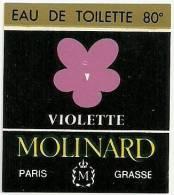 Etiquette Parfum Réf.036. Eau De Toilette 80° Violette - Molinard - Grasse, PAris - Etiquettes