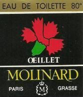 Etiquette Parfum Réf.050. Eau De Toilette Oeillet - Molinard - Grasse, Paris - Etiquettes